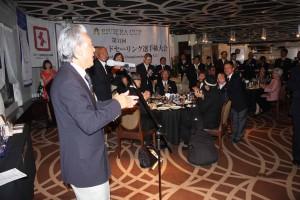 河野博文JSAF会長(左端)も応援のメッセージ。「ニッポン、チャチャチャ!」が鳴り響きました