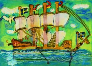 グランプリ・JSAF会長賞となった高野空さん(足立区古千谷小学校2年)の「大きな船にのって釣りをする私」