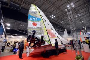 ボートショーでは49erの帆走シーンが再現された(撮影/濱谷幸江)